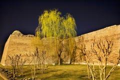 Sosta della parete della città con l'albero di salice Pechino Cina Immagini Stock
