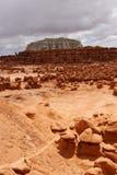 Sosta di condizione della valle del Goblin, Utah fotografia stock