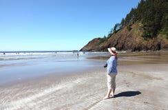 Sosta di condizione indiana di Ecola della spiaggia, litorale dell'Oregon. Immagini Stock Libere da Diritti