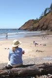Sosta di condizione indiana di Ecola della spiaggia, litorale dell'Oregon. Fotografia Stock Libera da Diritti