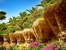 Sosta di Guell di Barcellona Gaudi Fotografia Stock Libera da Diritti