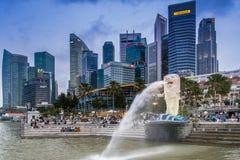 Sosta di Merlion, Singapore Immagini Stock