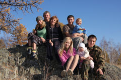 sosta felice della grande famiglia di autunno Fotografie Stock