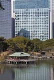 Sosta giapponese davanti agli edifici per uffici Fotografia Stock