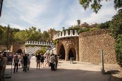 Sosta Guell a Barcellona, Spagna Fotografia Stock