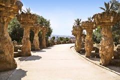 Sosta Guell del Gaudi a Barcellona Fotografie Stock Libere da Diritti
