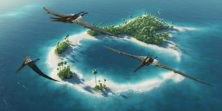 Sosta naturale dei dinosauri Periodo giurassico Dinosauri che volano sopra l'isola tropicale di paradiso Fotografia Stock