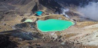 Sosta nazionale di Tongariro dei laghi verde smeraldo, Nuova Zelanda Fotografie Stock Libere da Diritti
