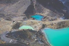 Sosta nazionale di Tongariro dei laghi verde smeraldo, Nuova Zelanda Immagini Stock Libere da Diritti