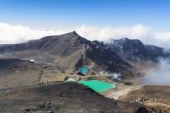 Sosta nazionale di Tongariro dei laghi verde smeraldo, Nuova Zelanda Fotografia Stock Libera da Diritti