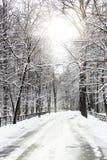 Sosta urbana innevata silenziosa in inverno. Fotografia Stock