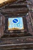 No parking sign. Sosta vietata, Italian No parking symbol stock images