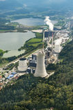 SOSTANJ, SLOVENIA, Sept 7th 2014, aerial shot of coal plant Sostanj. Aerial photography of coal plant in Sostanj, Velenje Stock Photography