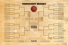 Sostegno di torneo di pallacanestro sul pavimento di legno della palestra fotografia stock