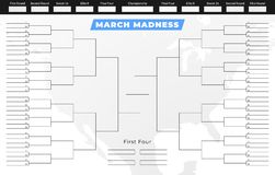 Sostegno di torneo di follia di marzo Modello vuoto di griglia della concorrenza royalty illustrazione gratis