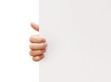 Sostener el papel blanco del espacio en blanco A4 Imagenes de archivo
