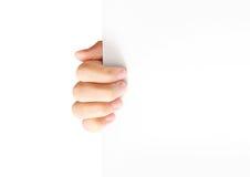 Sostener el papel blanco del espacio en blanco A4 Foto de archivo