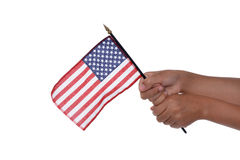Sostener la bandera Imagenes de archivo