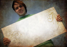 Sostener la cartulina en blanco, Fotos de archivo