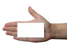 Sostener la tarjeta de visita en blanco #2 Imagen de archivo libre de regalías