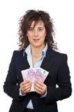 Sostener un ventilador del dinero Fotografía de archivo libre de regalías