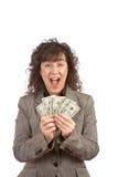 Sostener un ventilador del dinero foto de archivo libre de regalías