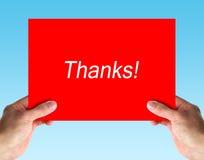 Sostenga la tarjeta de las gracias Fotos de archivo
