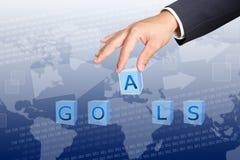 Sostenga los botones de la palabra de las metas Foto de archivo libre de regalías
