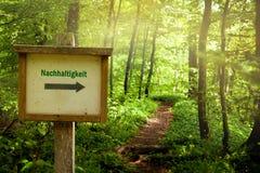 Sostenibilità - la parola tedesca Nachhaltigkeit Immagini Stock Libere da Diritti