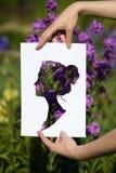Sosteniendo el retrato miniatura de las mujeres del corte de papel sobre la floración florece Fotos de archivo libres de regalías