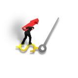 Sosteniendo la flecha roja que equilibra en USD firme la mano de reloj Fotografía de archivo libre de regalías