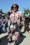 Sostenitore di Bernie Sanders a raduno presidenziale, Modesto, CA Fotografie Stock