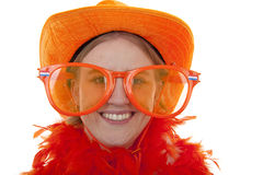 Sostenitore femminile di calcio con i grandi vetri arancioni Fotografia Stock Libera da Diritti