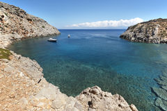 Sostis Bay. Cretan beach. Mediterranean landscape. Greece Royalty Free Stock Photography