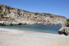 Sostis Bay. Cretan beach. Mediterranean landscape. Greece Stock Photos
