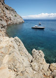 Sostis Bay. Cretan beach. Mediterranean landscape. Greece Royalty Free Stock Image