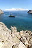 Sostis Bay. Cretan beach. Mediterranean landscape. Greece Royalty Free Stock Photo