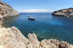 Sostis Bay. Cretan beach. Mediterranean landscape. Greece Royalty Free Stock Photos