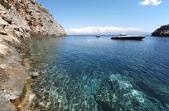 Sostis Bay. Cretan beach. Mediterranean landscape. Greece Royalty Free Stock Images