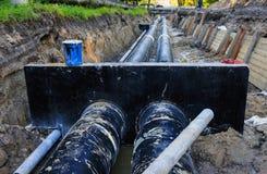 Sostituzione della conduttura dell'acqua (Russia) Fotografia Stock Libera da Diritti