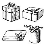 Sot of grunge Christmas gift boxes Stock Images