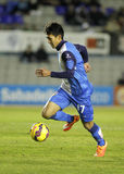 Sotan Tanabe of CE Sabadell. In action during a Spanish League match against FC Barcelona B at the Nova Creu Alta on February 1, 2015 in Sabadell, Spain stock photo