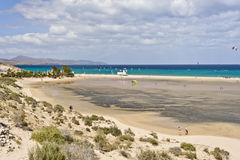 Sotavento海滩在费埃特文图拉岛海岛 免版税库存照片