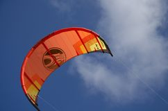 A kite in the sky on Sotavento beach. Sotavento beach, Fuerteventura, Canary Islands, Spain; May 26, 2018: A kite in the blue sky above Sotavento Kiite Lagoon on royalty free stock images