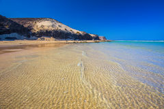 Sotavento sandy beach with vulcanic mountains in the background, Jandia, Fuerteventura, Canary Islands, Spain. Sotavento sandy beach with vulcanic mountains in royalty free stock image