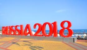 SOTCHI, RUSLAND - AUGUSTUS 3, 2017: Brieven ` Rusland 2018 ` op de overzeese promenade Royalty-vrije Stock Afbeeldingen