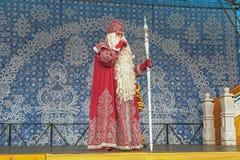 SOTCHI, RUSLAND - FEBRUARI 21, 2014: Russische Santa Claus in het Olympische Dorp Royalty-vrije Stock Fotografie