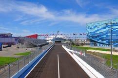 Sotchi, Rusland - September 23, het Deel van 2014 van het spoor van Formule 1 bij de Ijsberg van het Ijspaleis Stock Afbeelding