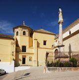 Soterrano church, Aguilar de la Frontera. Soterrano church with a monument in the foreground (Iglesia de Soterrano), Aguilar de la Frontera, Cordoba Province Royalty Free Stock Photo