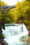 Soteska Vintgar or Bled Gorge Blejski vintgar. Is a waterfall in national park in Slovenia Royalty Free Stock Photography